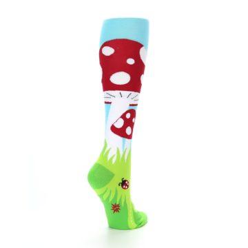 Image of Green White Red Toadstool Women's Knee High Socks (side-1-back-22)