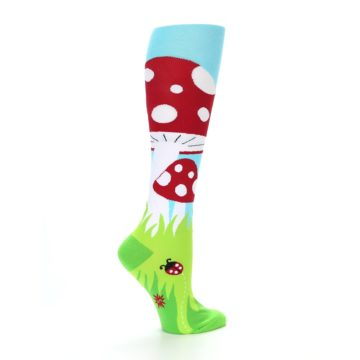 Image of Green White Red Toadstool Women's Knee High Socks (side-1-24)