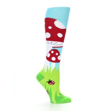 Image of Green White Red Toadstool Women's Knee High Socks (side-1-25)