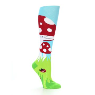 Image of Green White Red Toadstool Women's Knee High Socks (side-1-26)