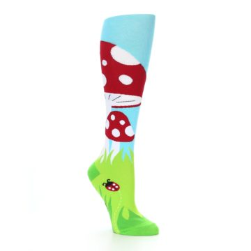 Image of Green White Red Toadstool Women's Knee High Socks (side-1-27)