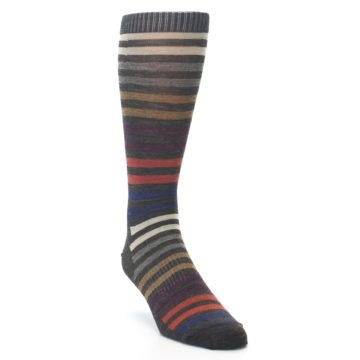 Image of Chesnut Brown Multi Stripe Wool Men's Casual Socks (side-1-front-02)