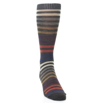Image of Chesnut Brown Multi Stripe Wool Men's Casual Socks (side-1-front-03)