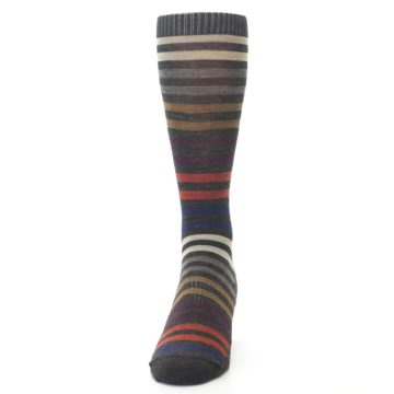 Image of Chesnut Brown Multi Stripe Wool Men's Casual Socks (front-05)
