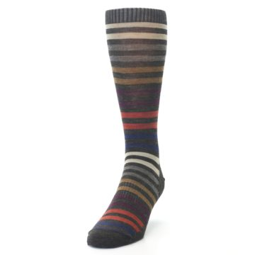 Image of Chesnut Brown Multi Stripe Wool Men's Casual Socks (side-2-front-06)