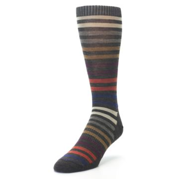 Image of Chesnut Brown Multi Stripe Wool Men's Casual Socks (side-2-front-07)