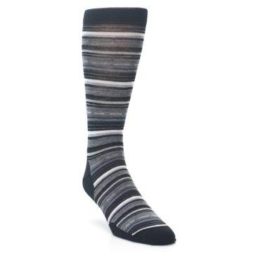 Image of Black Grey Stripe Wool Men's Casual Socks (side-1-front-02)