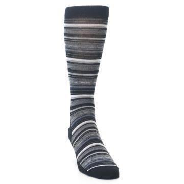 Image of Black Grey Stripe Wool Men's Casual Socks (side-1-front-03)