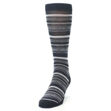 Image of Black Grey Stripe Wool Men's Casual Socks (side-2-front-06)