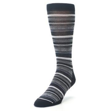 Image of Black Grey Stripe Wool Men's Casual Socks (side-2-front-07)