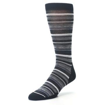 Image of Black Grey Stripe Wool Men's Casual Socks (side-2-front-08)