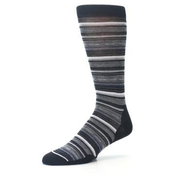 Image of Black Grey Stripe Wool Men's Casual Socks (side-2-09)