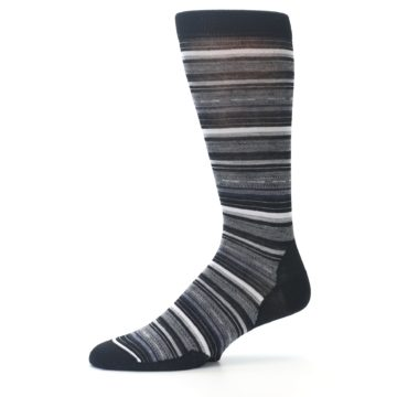 Image of Black Grey Stripe Wool Men's Casual Socks (side-2-10)