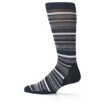 Image of Black Grey Stripe Wool Men's Casual Socks (side-2-12)