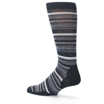 Image of Black Grey Stripe Wool Men's Casual Socks (side-2-13)