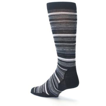 Image of Black Grey Stripe Wool Men's Casual Socks (side-2-back-14)