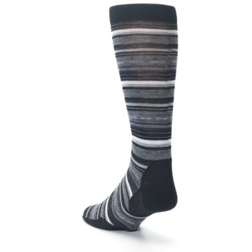 Image of Black Grey Stripe Wool Men's Casual Socks (side-2-back-15)