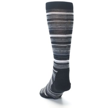 Image of Black Grey Stripe Wool Men's Casual Socks (side-2-back-16)