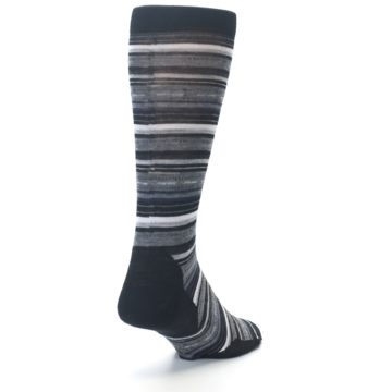 Image of Black Grey Stripe Wool Men's Casual Socks (side-1-back-20)