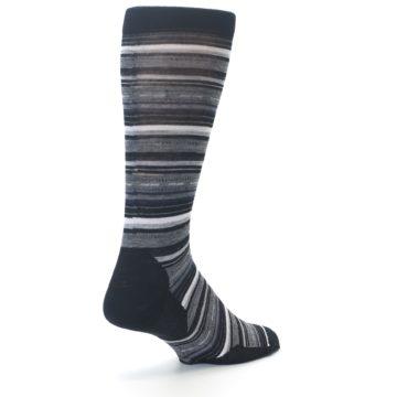 Image of Black Grey Stripe Wool Men's Casual Socks (side-1-back-21)