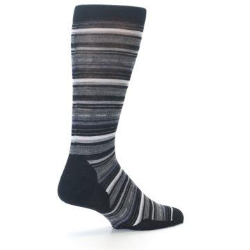 Image of Black Grey Stripe Wool Men's Casual Socks (side-1-back-22)