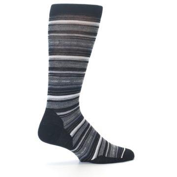 Image of Black Grey Stripe Wool Men's Casual Socks (side-1-23)