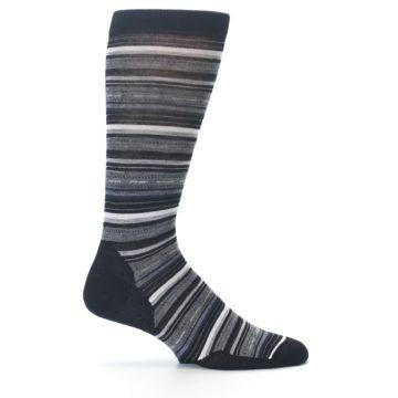 Image of Black Grey Stripe Wool Men's Casual Socks (side-1-24)