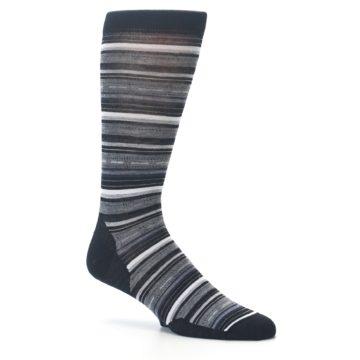 Image of Black Grey Stripe Wool Men's Casual Socks (side-1-25)