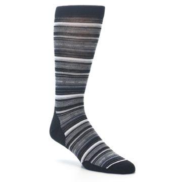 Image of Black Grey Stripe Wool Men's Casual Socks (side-1-26)