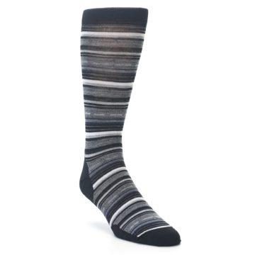Image of Black Grey Stripe Wool Men's Casual Socks (side-1-27)