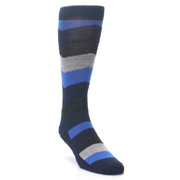 Image of Navy Charcoal Chevron Wool Men's Casual Socks (side-1-front-02)