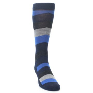 Image of Navy Charcoal Chevron Wool Men's Casual Socks (side-1-front-03)