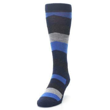 Image of Navy Charcoal Chevron Wool Men's Casual Socks (side-2-front-06)