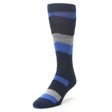 Image of Navy Charcoal Chevron Wool Men's Casual Socks (side-2-front-07)