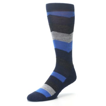 Image of Navy Charcoal Chevron Wool Men's Casual Socks (side-2-front-08)
