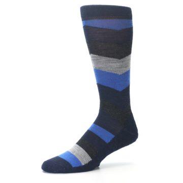 Image of Navy Charcoal Chevron Wool Men's Casual Socks (side-2-09)