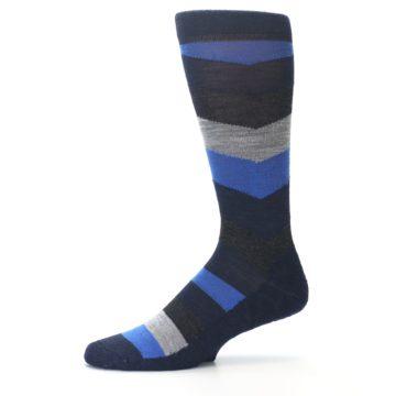 Image of Navy Charcoal Chevron Wool Men's Casual Socks (side-2-10)