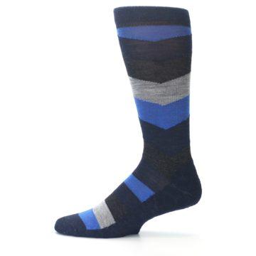 Image of Navy Charcoal Chevron Wool Men's Casual Socks (side-2-11)