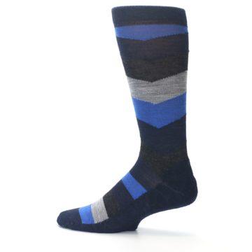 Image of Navy Charcoal Chevron Wool Men's Casual Socks (side-2-12)