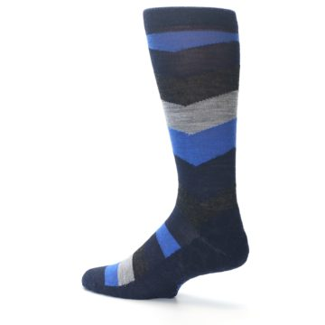 Image of Navy Charcoal Chevron Wool Men's Casual Socks (side-2-13)