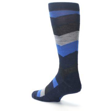Image of Navy Charcoal Chevron Wool Men's Casual Socks (side-2-back-14)