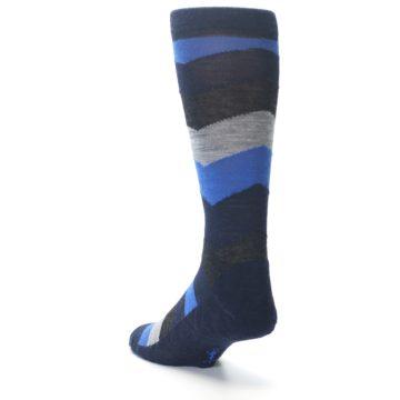 Image of Navy Charcoal Chevron Wool Men's Casual Socks (side-2-back-15)