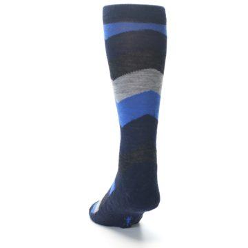 Image of Navy Charcoal Chevron Wool Men's Casual Socks (side-2-back-16)