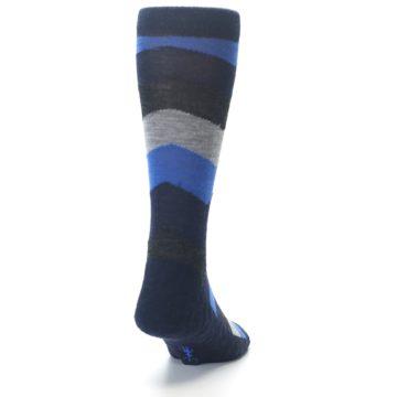 Image of Navy Charcoal Chevron Wool Men's Casual Socks (back-19)