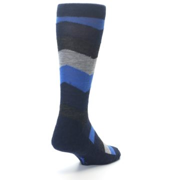 Image of Navy Charcoal Chevron Wool Men's Casual Socks (side-1-back-20)