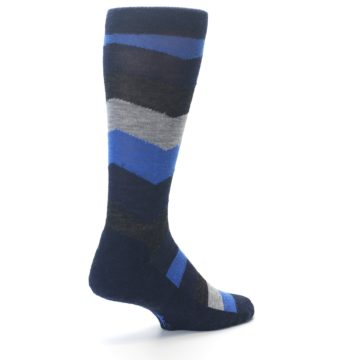 Image of Navy Charcoal Chevron Wool Men's Casual Socks (side-1-back-21)