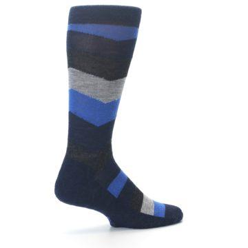 Image of Navy Charcoal Chevron Wool Men's Casual Socks (side-1-back-22)