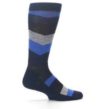 Image of Navy Charcoal Chevron Wool Men's Casual Socks (side-1-23)