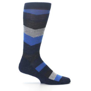 Image of Navy Charcoal Chevron Wool Men's Casual Socks (side-1-24)