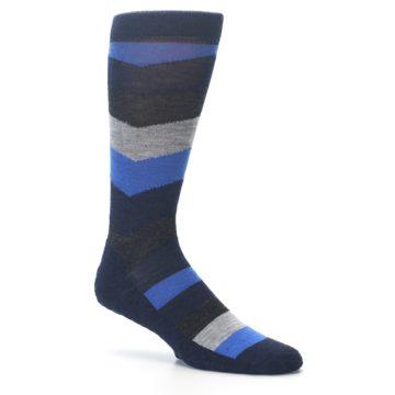 Image of Navy Charcoal Chevron Wool Men's Casual Socks (side-1-25)